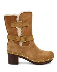Ugg Brea Sheepskin And Leather Belted Mid Calf Boots Chestnut