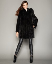 The Fur Vault Fox Trimmed Hooded Mink Coat Ranch Black