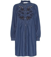 Coach Embroidered Chambray Dress Blue