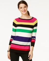 American Living Striped Long Sleeve Sweater Only At Macy's Black Multi