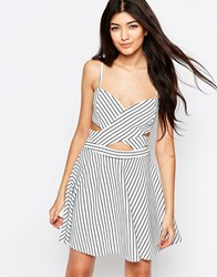 Wyldr In Love Skater Dress In Stripe With Cut Outs Multi