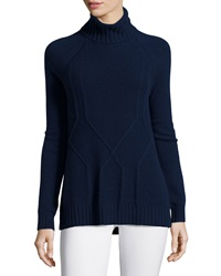 Neiman Marcus Cashmere Relaxed Cable Knit Turtleneck Sweater Navy