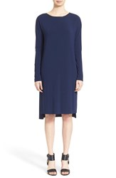 Women's Vince Long Sleeve Dress With Faux Leather Trim