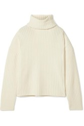 Re Done Oversized Ribbed Wool And Cashmere Blend Turtleneck Sweater Ivory