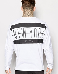Asos Batwing Long Sleeve T Shirt With Nyc Back Print White