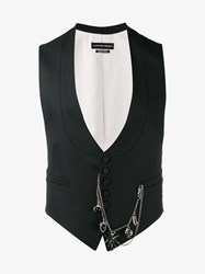 Alexander Mcqueen Wool Waistcoat With Chains Black White