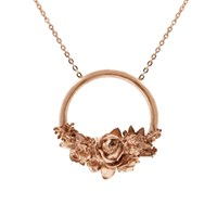 Lee Renee Rose Halo Necklace Rose Gold Red Rose Gold Pink