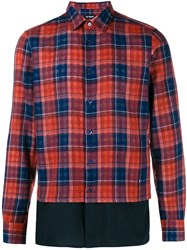 Raf Simons Checked Long Sleeve Shirt Red