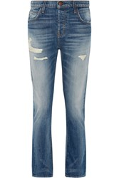 Current Elliott The Slouchy Cropped Distressed Jeans Mid Denim