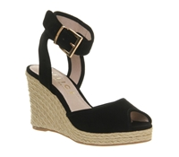 Office Dark Horse Leather Peep Toe Wedge Espadrilles Black Suede