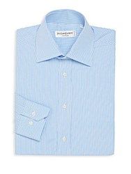 Yves Saint Laurent Regular Fit Checkered Dress Shirt Light Blue