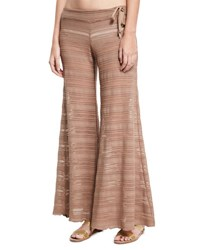 Letarte Crochet Lace Flare Beach Pants Brown