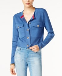 Tommy Hilfiger Cropped Cardigan Only At Macy's Medium Denim