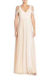 Women's Donna Morgan 'Colette' Draped Shoulder V Neck Dot Mesh Gown