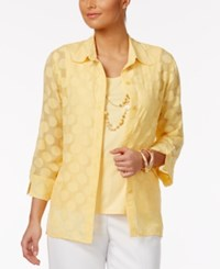 Alfred Dunner Seas The Day Layered Look Top Yellow