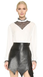 Rodarte Sequined Long Sleeve Blouse White