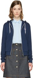 Maison Kitsune Blue Fox Patch Zip Up Hoodie