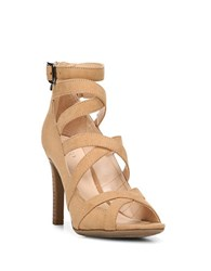 Franco Sarto Quincey Strappy Stacked Heel Sandals Camel