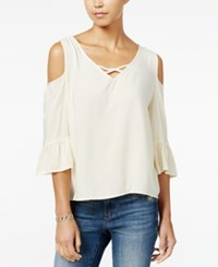 One Hart Juniors' Cold Shoulder Ruffle Sleeve Blouse Only At Macy's Oyster Pearl