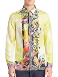Versace Camicia Trend Floral Printed Silk Shirt Lime