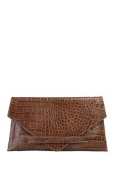Made In Italia Croc Embossed Leather Envelope Clutch Brown