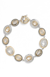 Judith Jack Crystal And Marcasite Two Tone Bracelet Silver Gold