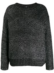 Steffen Schraut Metallic Ribbed Knit Jumper Black
