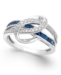 Macy's Sapphire 1 Ct. T.W. And Diamond 1 5 Ct. T.W. Swirl Ring In 14K White Gold