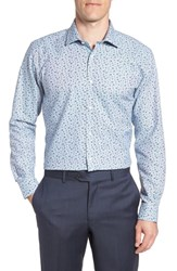 Ted Baker Big And Tall London Chardo Trim Fit Floral Dress Shirt Grey