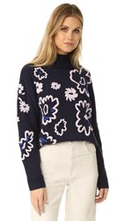 Rebecca Taylor Floral Embroidered Sweater Navy Combo