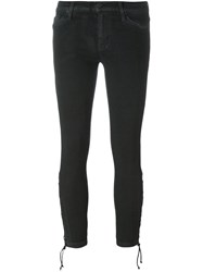 Hudson Tie Hem Skinny Cropped Trousers Black