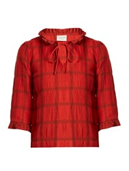 Cecilie Copenhagen Tie Neck Cotton And Linen Blend Checked Top Red
