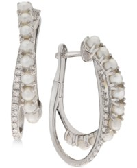 Macy's Cultured Freshwater Pearls 2Mm And Diamond 1 5 Ct. T.W. Double Hoop Earrings In Sterling Silver White