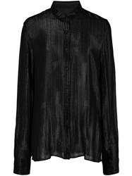 Rta Pleated Shimmer Shirt Black