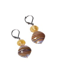 Antica Murrina Veneziana Millerighe Pastel Multicolor Murano Glass W Stripes And Gold Leaf Dangling Earrings