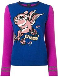 Pinko Flying Pig Knitted Sweater Blue