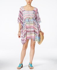 Jessica Simpson Limelight Striped Cover Up Dress Women's Swimsuit White Multi