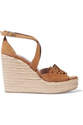 Tabitha Simmons Clem Cutout Suede Espadrille Wedge Sandals
