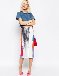 Asos Abstract Brush Stroke Zip Front Neoprene Pencil Skirt Multi