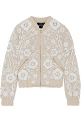 Needle And Thread Snowdrop Embellished Embroidered Georgette Bomber Jacket Beige