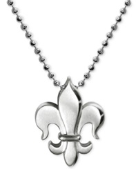 Alex Woo Little Faith Fleur De Lis Pendant Necklace In Sterling Silver