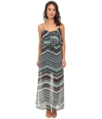 Gabriella Rocha Tinalou Print Chiffon Maxi Dress Mint Black Women's Dress Green
