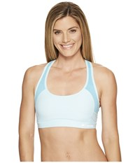 Columbia Color Block Strappy Bra Spring Water Turquoise Reef Heather Women's Bra White