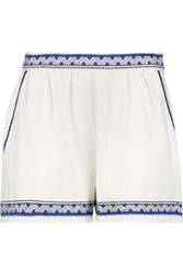 Maje Embroidered Cotton Canvas Shorts White