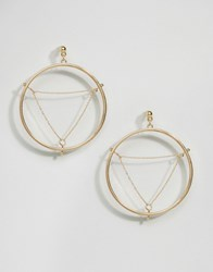 Asos Triangle Chain Hoop Earrings Gold