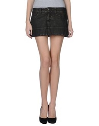 Dondup Denim Skirts Dark Brown