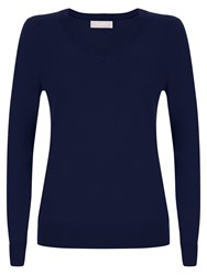 Havren Lydia V Neck Jumper Navy
