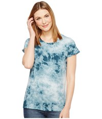 Alternative Apparel Cotton Jersey Tie Dye Distressed Vintage Tee Coastal Teal Crystal Wash Women's T Shirt Multi