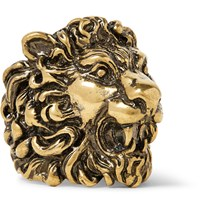Gucci Lion Burnished Gold Tone Ring Gold