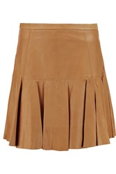 Halston Pleated Leather Mini Skirt Brown